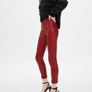 69e444de6ff8b Women Red Zara Leather Pants on Poshmark
